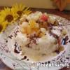 Borított trópusi gyümölcsrizs keksszel