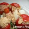 Tonhalkrémmel töltött paradicsom és tojás saláta ágyon