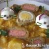Édeskáposzta főzelék krumplival tojásegerekkel