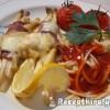 Baconbe tekert fehér spárga chilis spagettivel