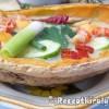 Jeges sárgadinnye-uborka krémleves rákkal vodkával