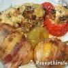 Töltött padlizsán és paradicsom baconbe tekert krumplival