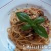 Vörösboros zöldspárga és gomba ragu kolbásszal spagettivel