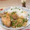 Csirke combok hagymás zöldborsós mártással