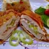 Rántott csirkemell sajttal baconnal és csípős paprikával töltve