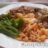 Gombás sertés pörkölt rizzsel, párolt káposztával