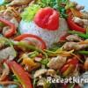 Zöldségekkel sütött csirkemell csíkok