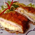 Bacönnel és sajttal töltött csirkemell rozsos bundában 1