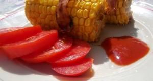 Baconbe tekert kukorica grillezve