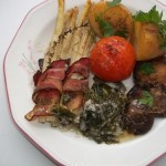 Baconba tekert spárga mángoldos medvehagymás szósszal 2