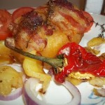 Baconba tekert töltött krumpli