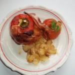 Baconba tekert töltött paprika és paradicsom krumplival 2