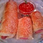 Baconos virsli szezámos bundában 1
