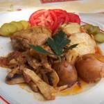 Csirkecomb gombásragúval sült krumplival 2