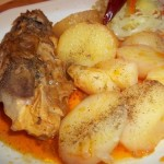 Csirkefarhát pörkölt krumplival csalamádéval 1