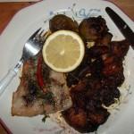 Fehérboros grillezett pangasius mángolddal zöldségekkel 1