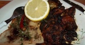 Fehérboros grillezett pangasius mángolddal zöldségekkel
