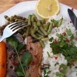 Fehérboros heringfilé zöldségekkel petrezselymes chilis rizzsel