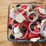 Görög saláta dinnyével fetával olívabogyóval 2