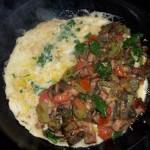 Gombás sonkás sajtos omlett 1