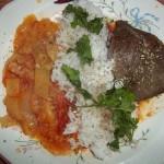 Grillezett sertésmáj lecsóval rizzsel 2