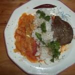 Grillezett sertésmáj lecsóval rizzsel 3