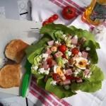 Mediterrán saláta juhtúróval mozzarellával pizzasonkával tojással 1