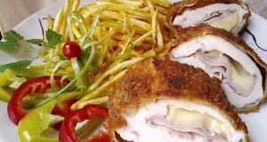 Mozzarellával és főtt füstölt tarjával töltött csirkemell