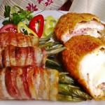 Mozzarellával baconnel töltött csirkemell baconös zöldbabbal 3