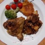 Mustáros sült csirke felsőcomb krumplival patisszonnal brokkolival 1