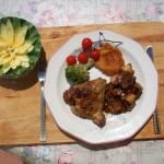 Mustáros sült csirke felsőcomb krumplival patisszonnal brokkolival 2
