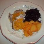 Narancslekváros sült malaccomb lila káposztával krumplival 1