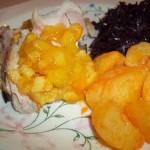 Narancslekváros sült malaccomb lila káposztával krumplival