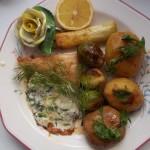 Pangasius grillezve zöldségekkel kapros mártással 1