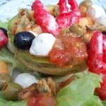 Sárgadinnye saláta babyrákollóval paradicsomos kagylóval mozzarellával vodkával 1