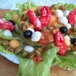 Sárgadinnye saláta babyrákollóval paradicsomos kagylóval mozzarellával vodkával