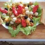 Sárgadinnye saláta babyrákollóval paradicsomos kagylóval mozzarellával vodkával 2