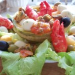 Sárgadinnye saláta babyrákollóval paradicsomos kagylóval mozzarellával vodkával 3