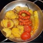 Sült kolbászkák krumplival zöldségekkel 2