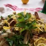 Spagetti baconnal zöldspárgával és sajttal 1