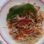 Tejszínes gombás csirkemelles spagetti medvehagymával 1