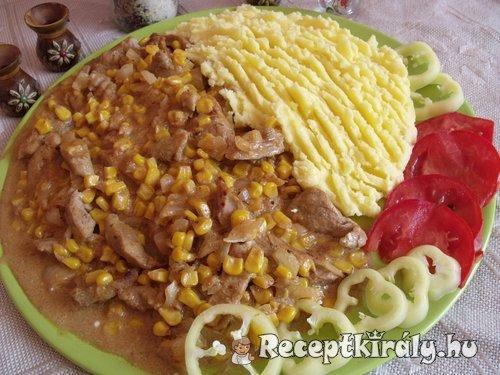 Tejszínes kukoricás sertéscomb krumplipürével