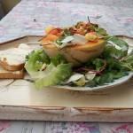 Vodkás sárgadinnye katalánszószos kagylóval bolero salátával 1