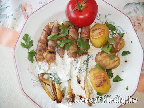 Baconba tekert spárga újkrumplival tartár szósszal 2