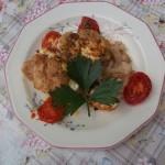 Karfiol sonkával tejföllel és reszelt sajttal csőbensütve