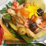 Sárgadinnye rákkal kagylóval és brandyvel 2