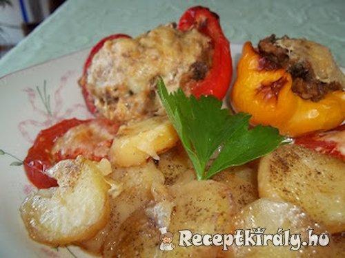Töltött paprika krumpliágyon csőben sütve