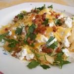 Túrós tejfölös sajtos tészta sült baconnal 1