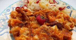 Vörösboros baconös krumplis tészta