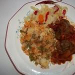 Vörösboros resztelt csirkemáj rizi-bizivel csalamádéval 1